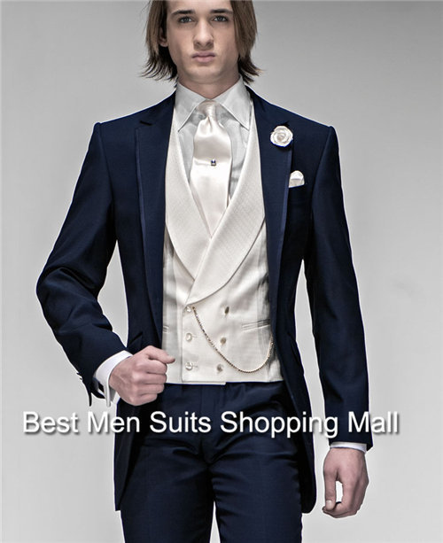2015-Groom Tuxedos Custom Made One Button Navy Blue Best Man Notch Lapel Groomsman Prom Suits Business Suit (Jacket+Pants+Vest+T - Men Shopping Mall-Custom store