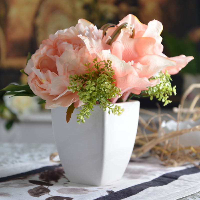 free shipping White ceramic pink amaryllis overall floral artificial flower bowyer dining table juan spent decoration flower(China (Mainland))