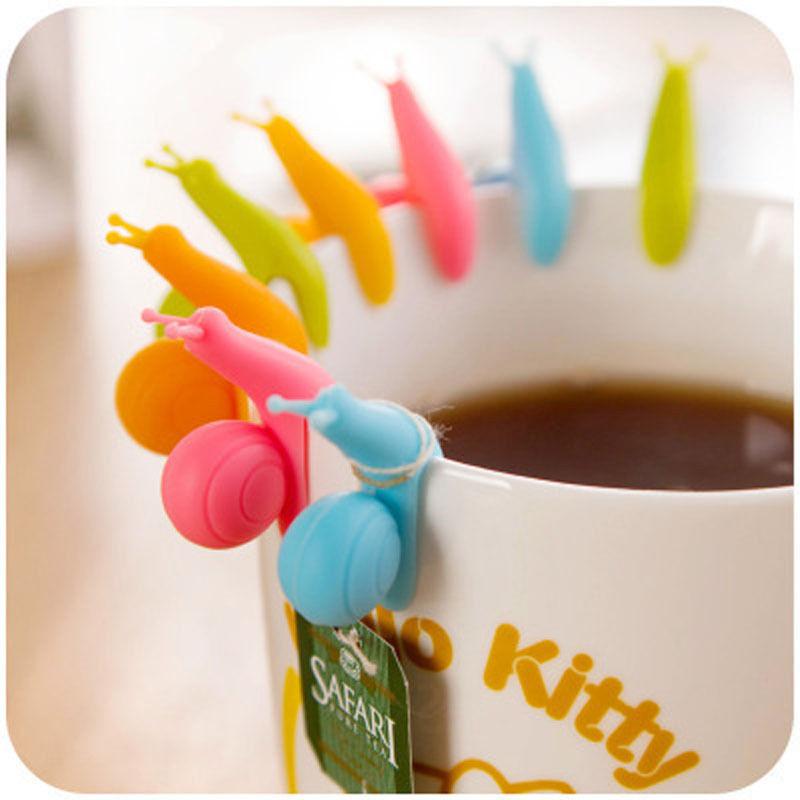 5 PCS Cute Snail Shape Silicone Tea Bag Holder Cup Mug Candy Colors Gift Set GOOD Randome Color!