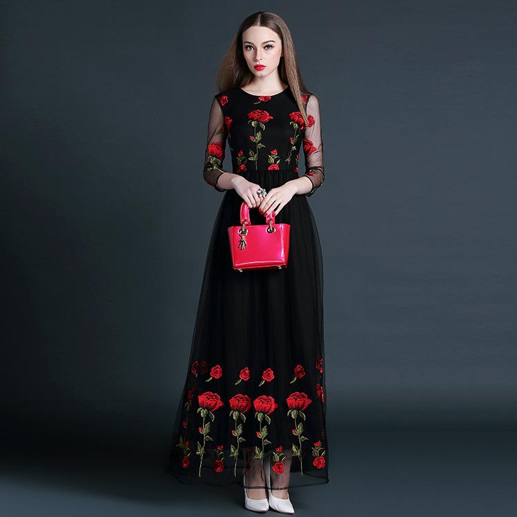 High Quality New Fashion 2016 Spring Summer Dress Ladies Turn-down Collar  Pocket Patchwork Slim Fit Print Linen Dress Basic