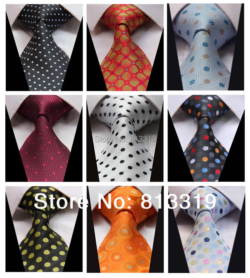 Polka Dot Color 100% Silk New Jacquard Woven Classic Man's Tie Necktie - HISDERN store