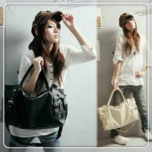 Японский стиль полиуретан кожа женщины плечо сумки сумки леди сумка сумочка с металл заклёпка Bolsos