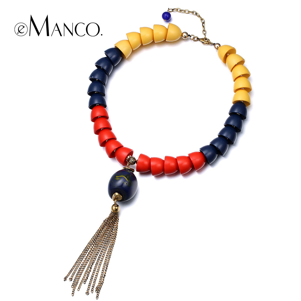 //Blue resin necklaces// gold tassel pendant necklace 2015 trendy short necklaces for women collares populares eManco NL13555(China (Mainland))