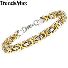 Bransoletka męska czarne złoto bizantyjski Link Chain bransoletka ze stali nierdzewnej na biżuteria męska hurtownia Dropshipping 7mm KBB1A(Hong Kong,China)