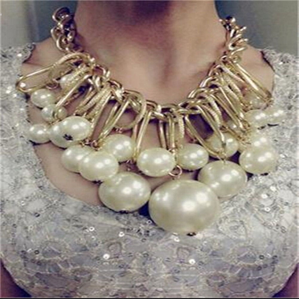 New Women Ladies Statement Choker Beads Pendant Necklace Link Chain Party Accessory Fashion Jewelry(China (Mainland))