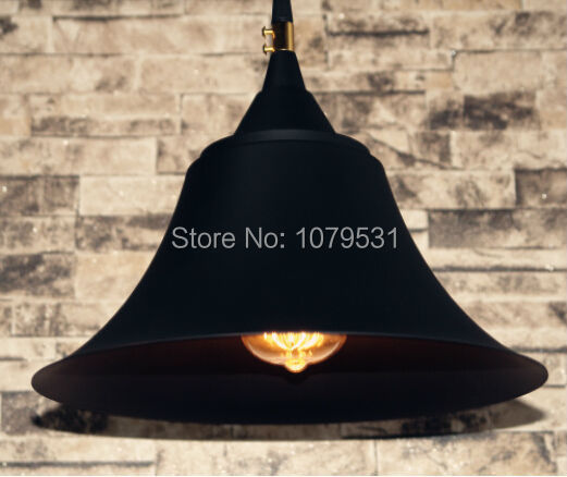 Loft American Rural Industry Wrought Iron Black Bell Shade Pendant Lights Retro Single Head Edison Bulb Droplight AC 110-220V(China (Mainland))