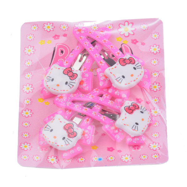 4 Pieces hello kitty Hair Clips Flower Hairpin For Baby Girl Toddler Girl Ribbon Bow Kids Satin Bowknot Hairpin Hair Decorations(China (Mainland))