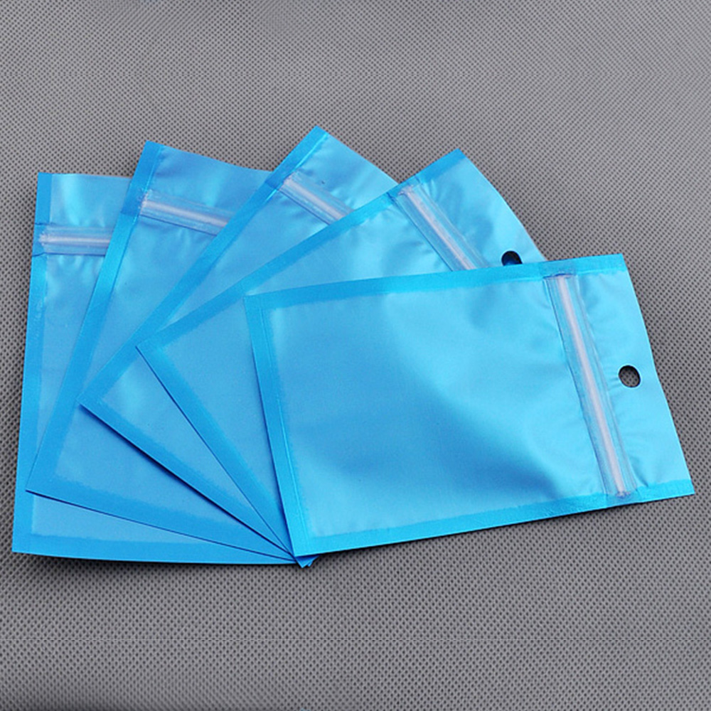 clear blue reusable gift packing bag flat foil 12x20cm 100pcs(China (Mainland))