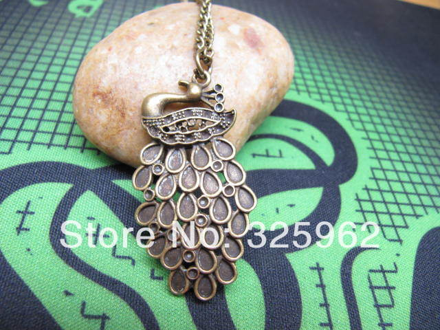 Sell fashion copper peacock necklace best christmas gift idea(China (Mainland))
