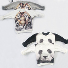 mini rodini 2015 winter 3d tiger panda pattern kids sweatshirt children clothing sets sweater kikikids(China (Mainland))