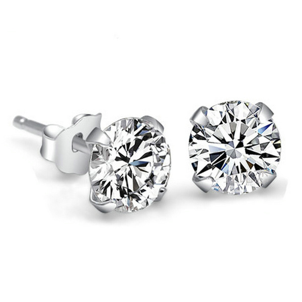 Genuine 925 Pure Sterling Silver Imitated Diamond Wedding Engagement Cubic Zirconia Stud Earrings For Women Men Fashion Jewelry(China (Mainland))