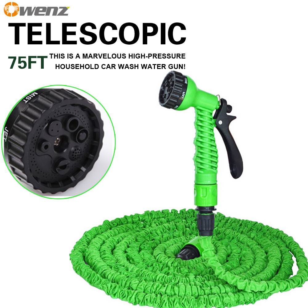 OWENZ 75FT garden water hose 2015 new green spray gun natural rubber garden tools perfect for washing car and watering garden(China (Mainland))