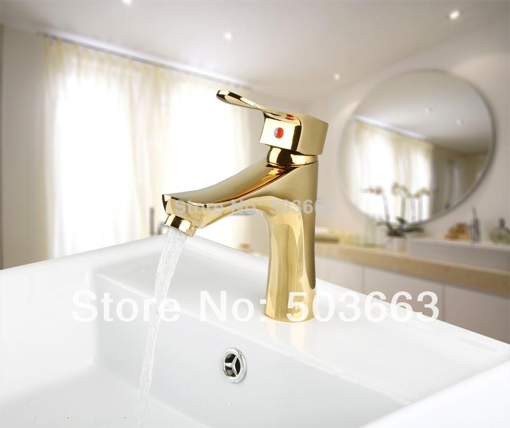 9827K Modern New Single Handle Golden Basin Sink Bathroom Deck Mounted Single Hole Ceramic Mixer Tap Faucet(China (Mainland))