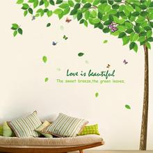 New Large DIY Removable Wall Stricker Green Tree Style Wall Stickers Home Decoration Waterproof(China (Mainland))