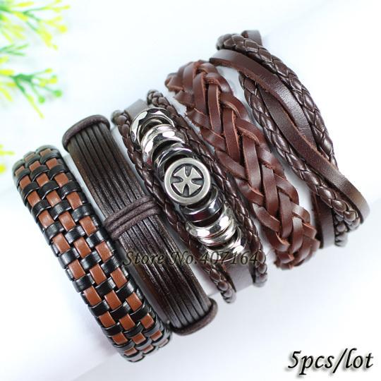 FL115-braided wrap leather bracelet men 2014,handmade brown metal rock wristband, ethnic tribal bangles() - SunFlower Trade Co.,Ltd store