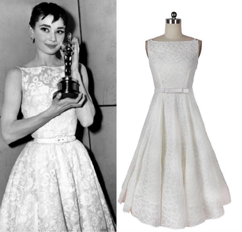 Vintage Dress Audrey Hepburn Style White A Line Bow Belt Lace Dress Custom Made Women Clothing