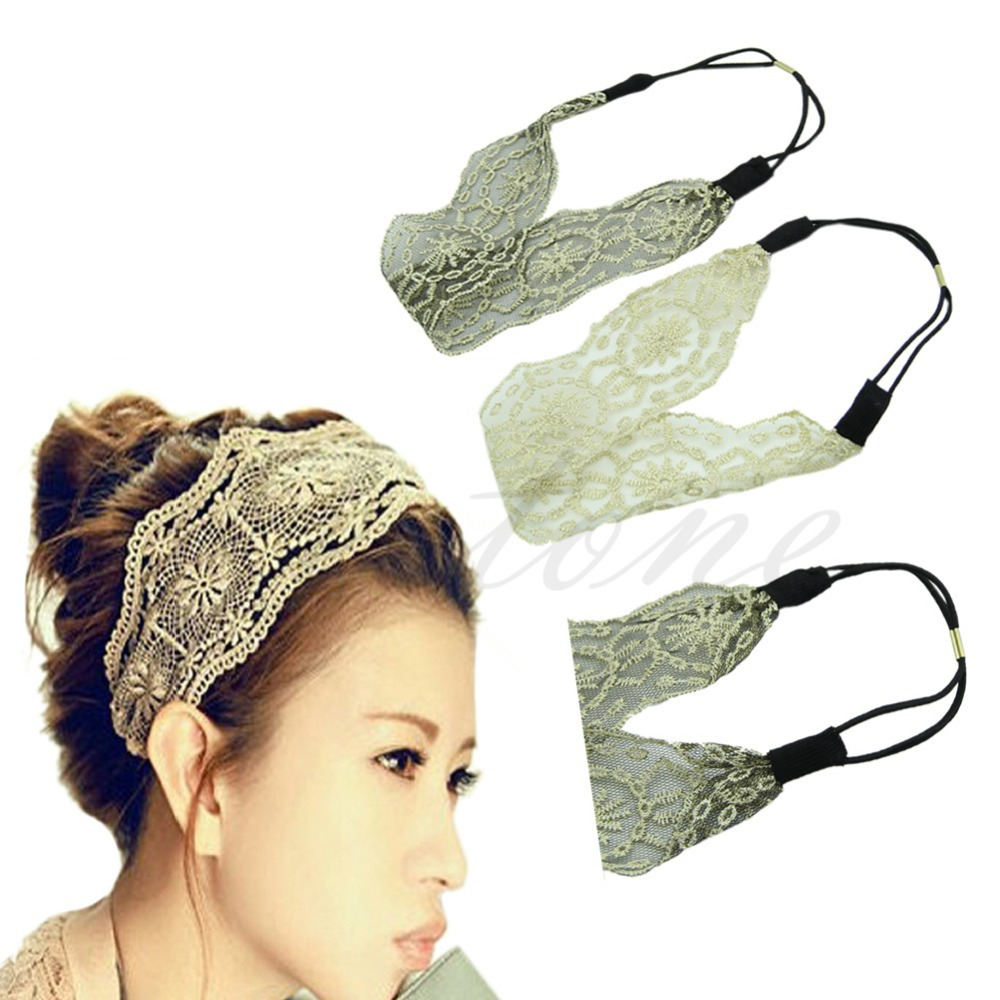 A25 Womens Girls Hair Accessories Lace Headband Retro Hair Band Wide Headwraps HOT(China (Mainland))