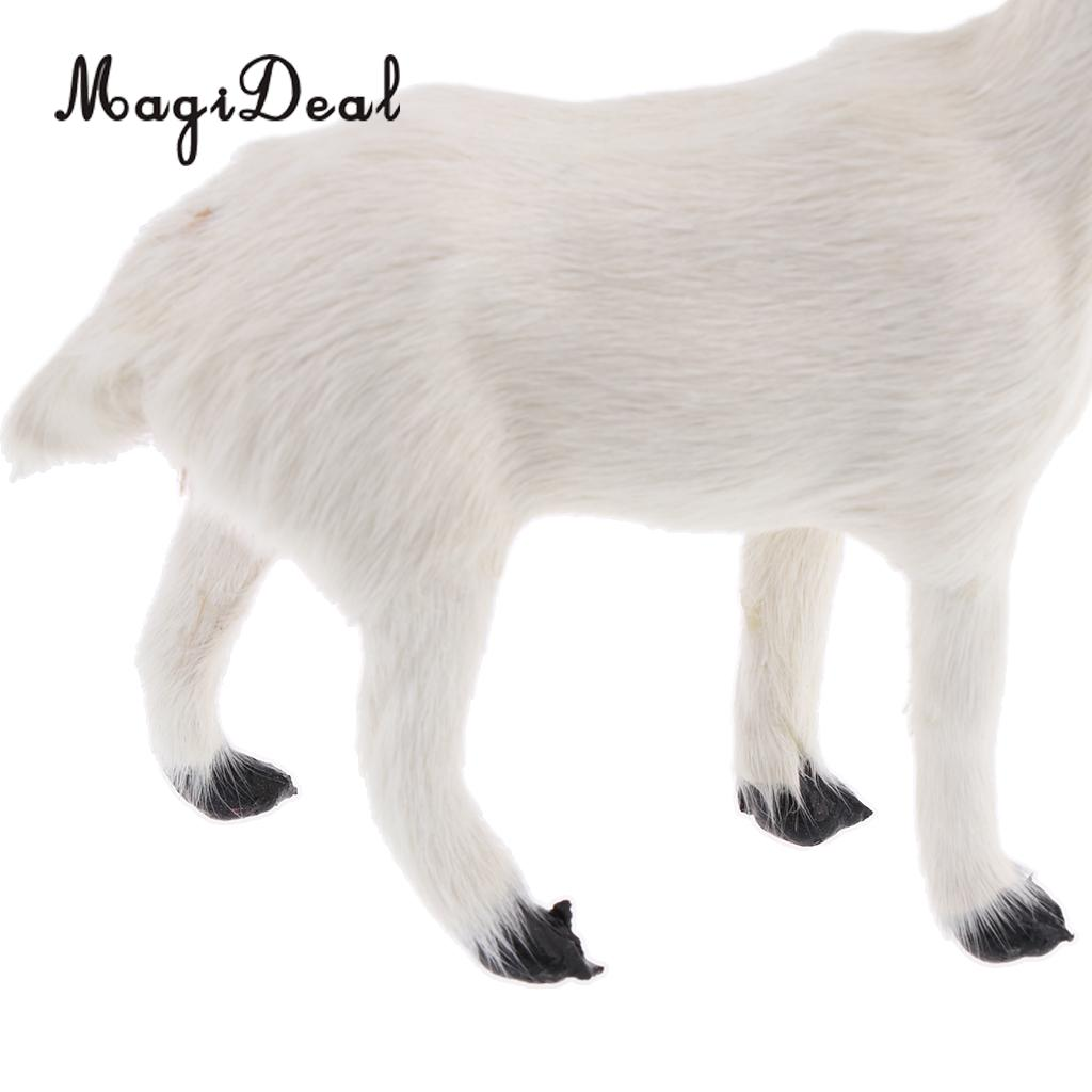 MagiDeal 1Pc Realistic Faux Fur Stanidng Goat Animal Model Figures Cute Plush Toy for Baby Kids Home Bedroom Car Decoration