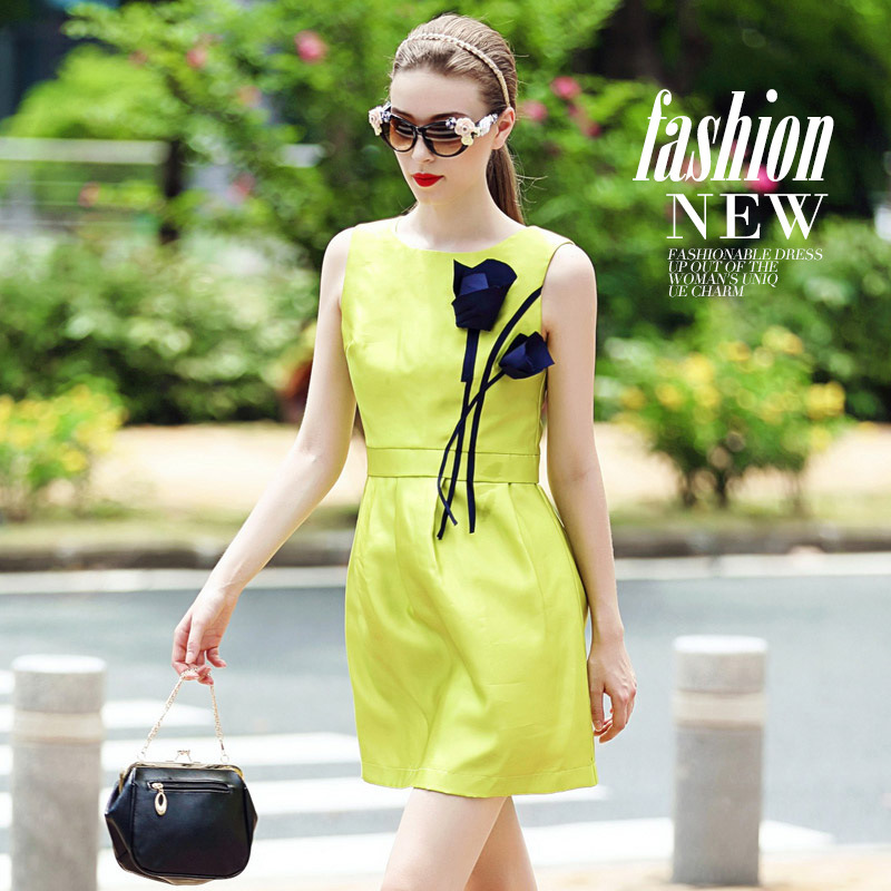 2015 candy color charming upscale atmosphere classic A-line round neck dress elegant woman 50823 - Great Shop store