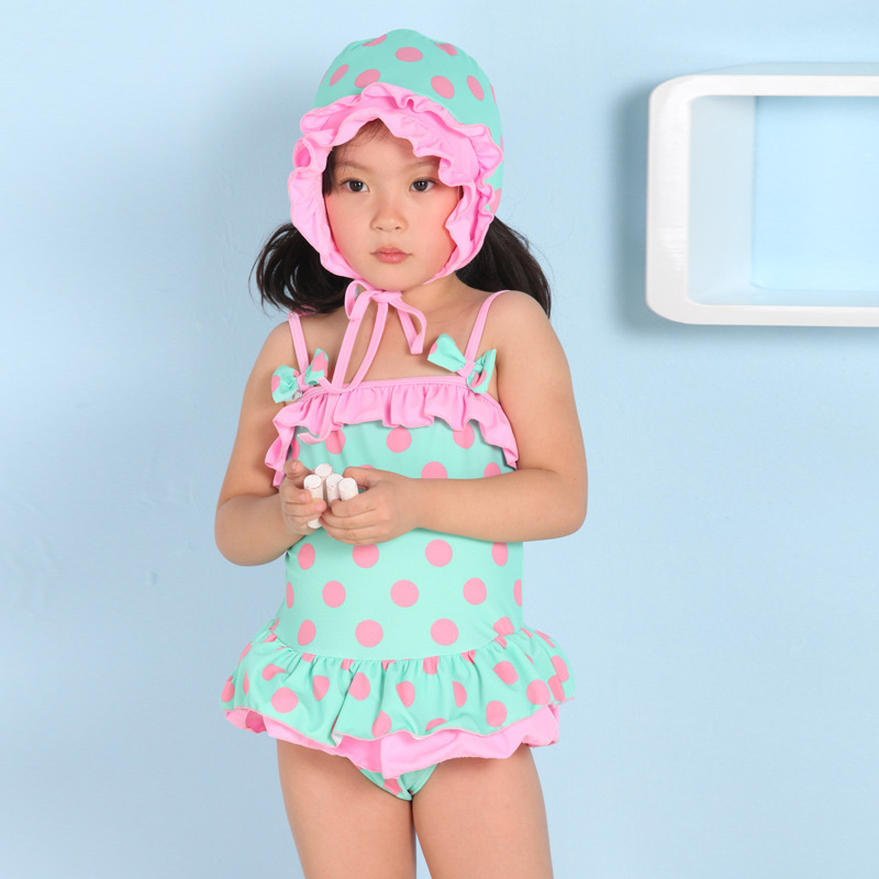 2015 Baby Kids Swimming Bathing Suit Girls Swimwear Swimsuit One Pieces Dot Bow Swim Wear+Hat Dress Skirt - Mom loves me store