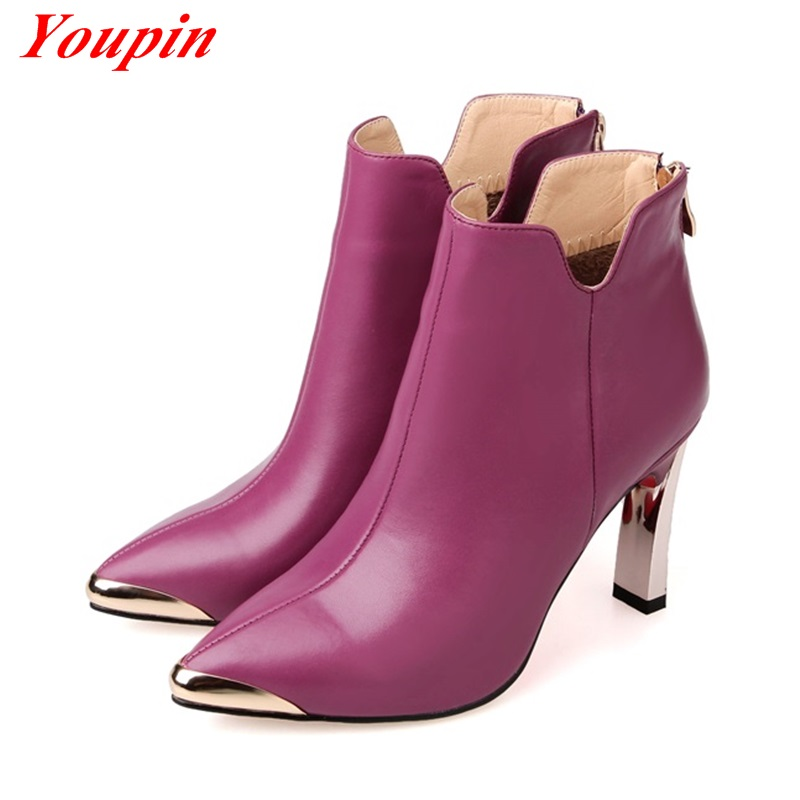 Luxury wild woman boots 2015 Autumn winter Pointed Toe zipper Genuine Leather Ankle boots Duantong Fashion style winter boots