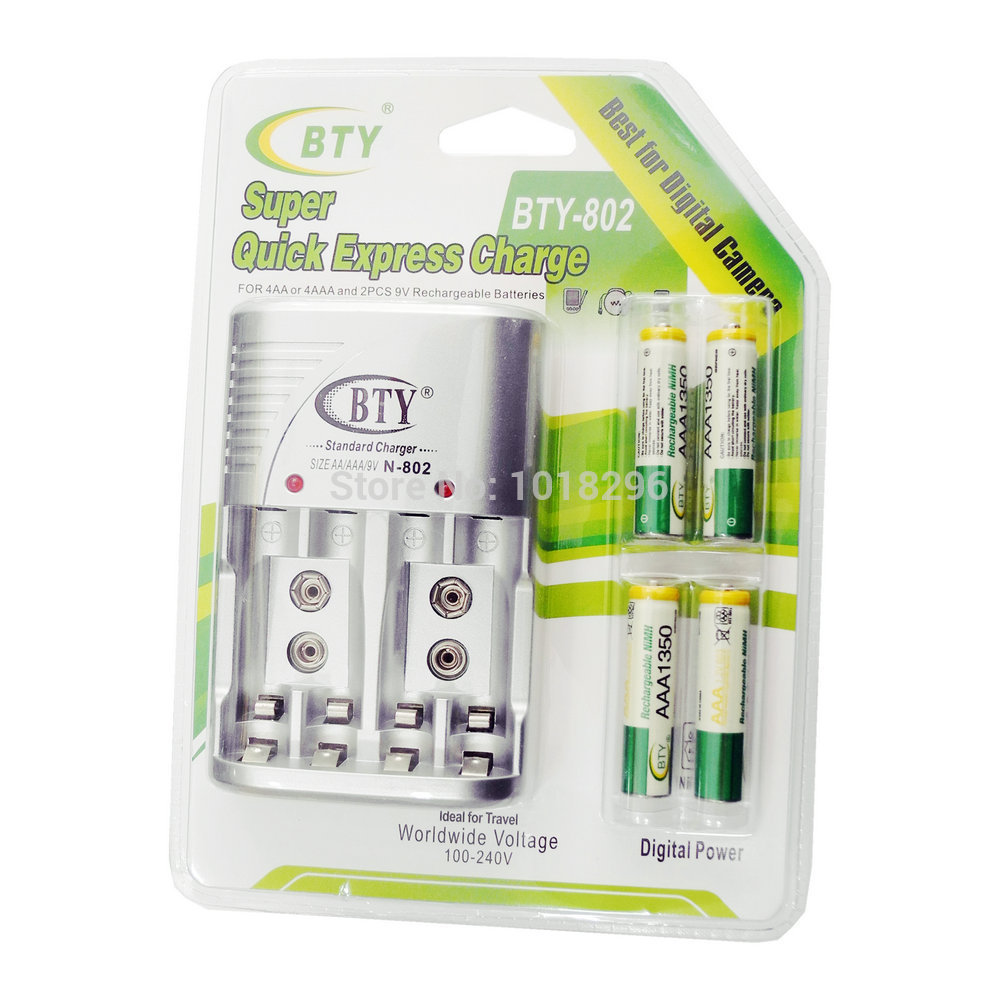 Cheaper BTY 1.2V AAA 4*1350mah Rechargeable Ni-MH Battery + BTY-802 AA /AAA Battery charger With Packing Case Free Shipping(China (Mainland))