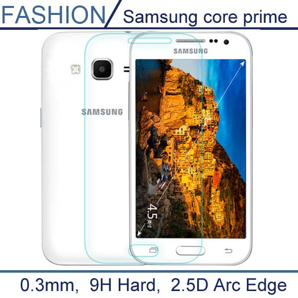 0.3mm Premium Tempered Glass for Samsung Galaxy Core Prime G360 9H Hard 2.5D Arc Edge Screen Protector with Clean Tools(China (Mainland))