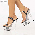 Summer Sexy Sandals Bling Bling Heart Shaped 5 CM Platform Shoes Woman Transparent Crystal 15 CM