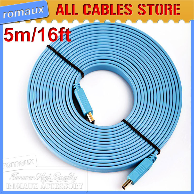 100pcs A lot full 1080P 16FT/5M HDMI cord 1.4 Male to Male AV Cable with 24k gold plated connector(China (Mainland))