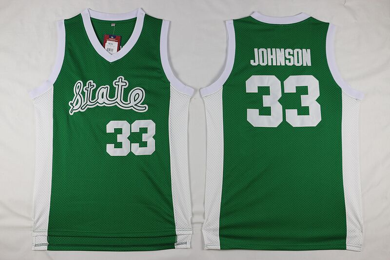 Men's Michigan State Spartans Magic Johnson #33 University College Basketball Shirt Green Color White, 100% Stitched logo(China (Mainland))