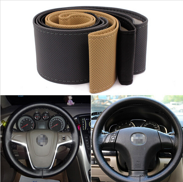 Car Steering Wheel Cover With Needles and Thread Artificial leather Sew-on Slip-resistant Car Covers accessories 2015 Hot Sale(China (Mainland))