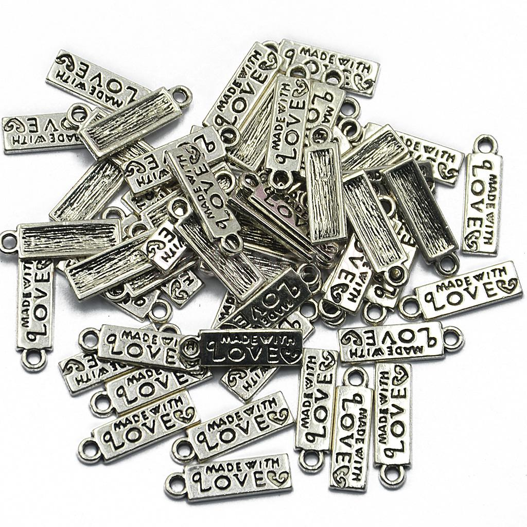 "50pcs Tibetan Silver Happiness""MADE WITH LOVE ""Oval Charms Pendant 11 x 8 mm"