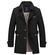HEE GRAND Men's Coat 2017 Hot Sale Fashion Casual Autumn Long Windbreaker Turn-down Overcoat masculino Plus Size MWF274(China)