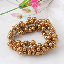 Popular Hair Accessories Women Multilayer Pearls Beads Elastic Hair Band Rope Scrunchy Ponytail Holder Elegant Rubber Bands
