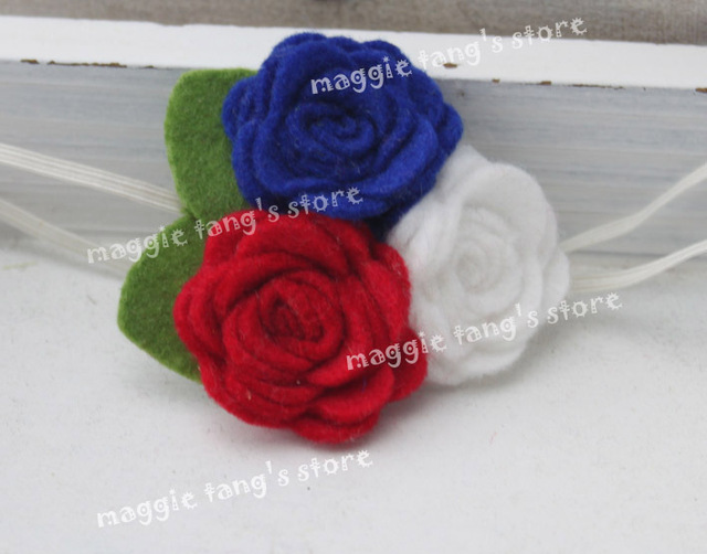 "2.5""-3"" Girl's Felt Rose Flower Blossoms headband Baby's felt hair bows flowers head band hair bands B016 60pcs"