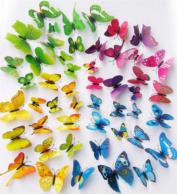 36pcs 3d simulation butterfly wall sticker stickers butterflies docors art diy decorations paper wall home decor aliexpresscom buy office decoration diy wall