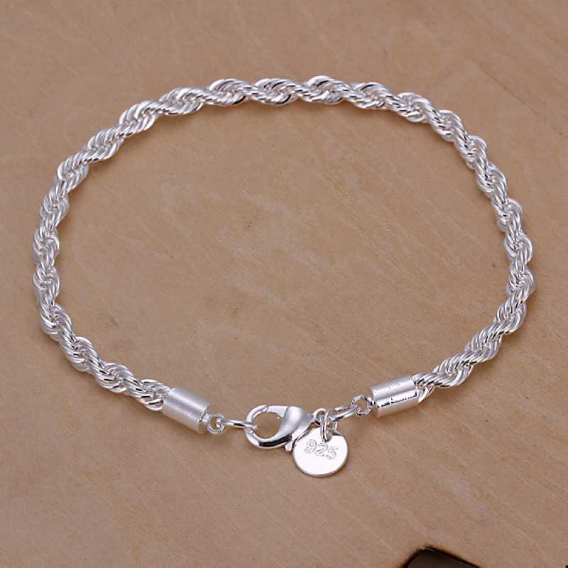 2015 New silver plated Flash twisted rope men bracelet joias SMTH207 - Qing jewelry CO.,LTD store