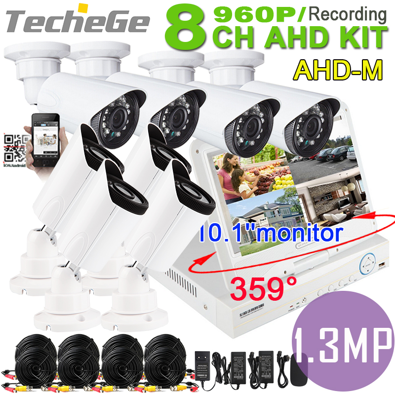 8CH CCTV system 10.1monitor DVR camera all in one system SONY IMX238 960P 1.3 Mega pixels indoor/outdoor cctv AHD dvr kit<br><br>Aliexpress
