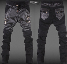 New 2015 Fashion Leather Patchwork Skinny Jeans Men Punk Style Robins Jeans Men High Quality