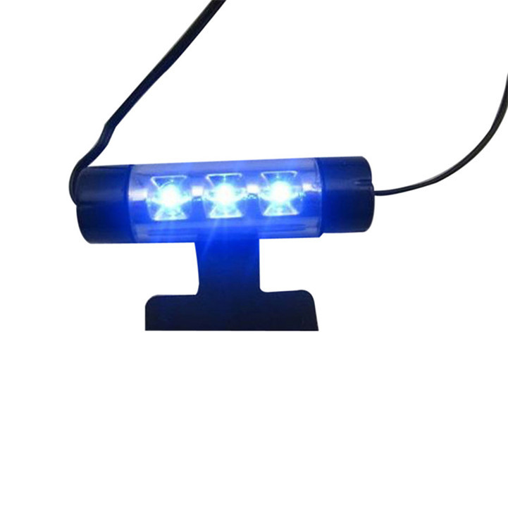 Delicate 4x 3LED Car Charge 12V Glow Interior Decorative 4in1 Atmosphere Blue Light Lamp Mar24