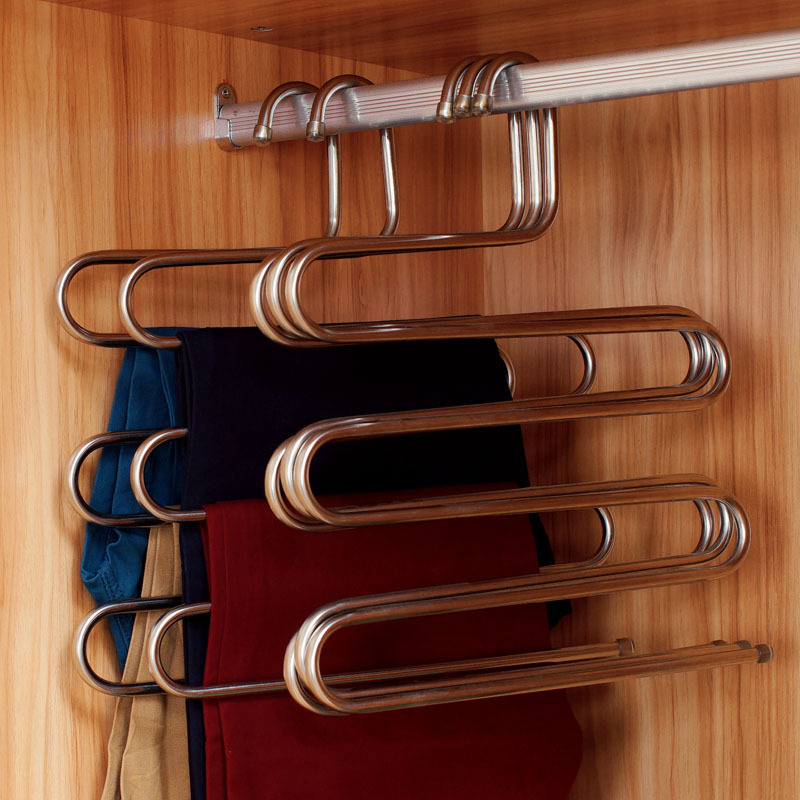 S-type multi-bedroom bold pants rack stainless steel storage rack pants hanger three loading / 5 loaded shipping(China (Mainland))