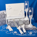 A Set White Butterfly Wedding Collection wedding decor Wedding Supplies Guest Book Pen Set Toasting Flutes