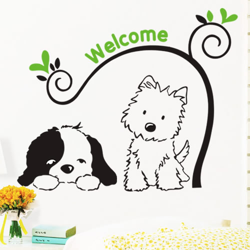 -Home Decorations Wall stickers dog child real pets wall kids rooms - Wedding Supplies And Party Favors store
