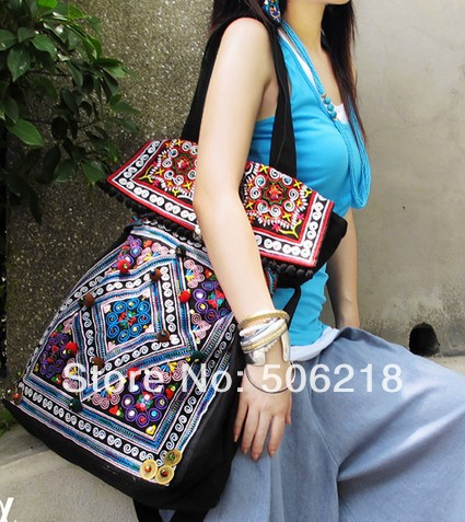 Original Ethnic Embroidered Bags Black Thick Canvas Embroidery Messenger Shoulder Travel Bag Fashion Women Big Handbags - Crazy In Thai store