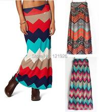 Stripe Saia Longa Maxi Skirts Femininas Geometric Skirts Faldas Mujer Brand Vintage Long Skirts(China (Mainland))