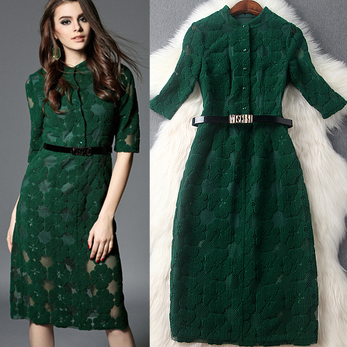 Women Green Red Floral Jacquard Single Breasted Ladies Elegant Bodycon Knee Length Casual Dress 2016 Spring New European style
