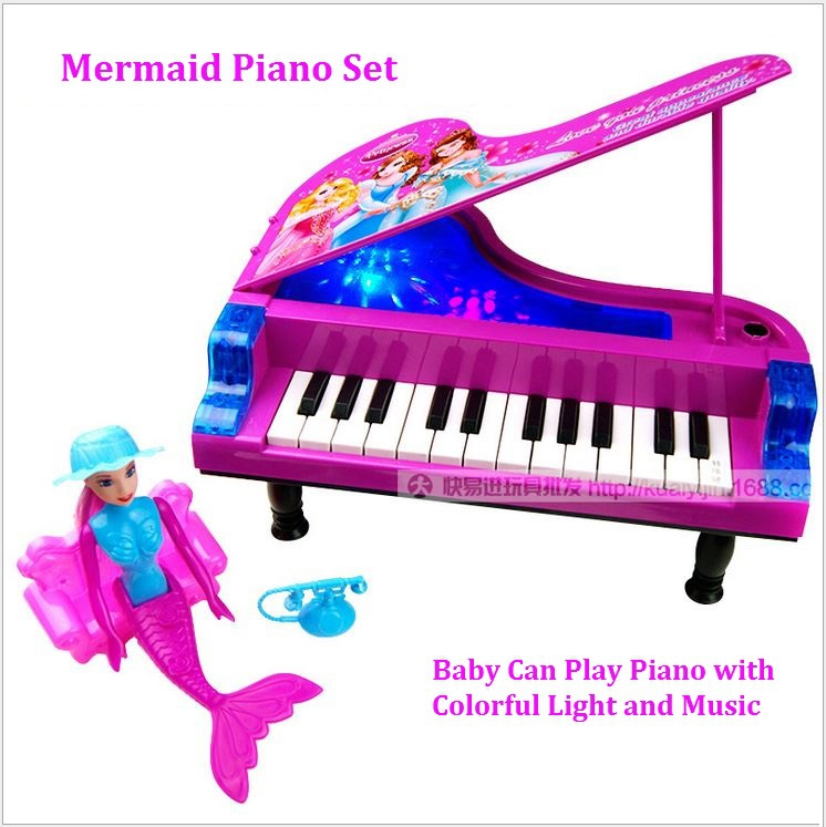 Free Ship Electronic Children's Educational Organ Panotron Keyboard Musical Instrument Plastic Mermaid Piano Toys Baby Toys(China (Mainland))