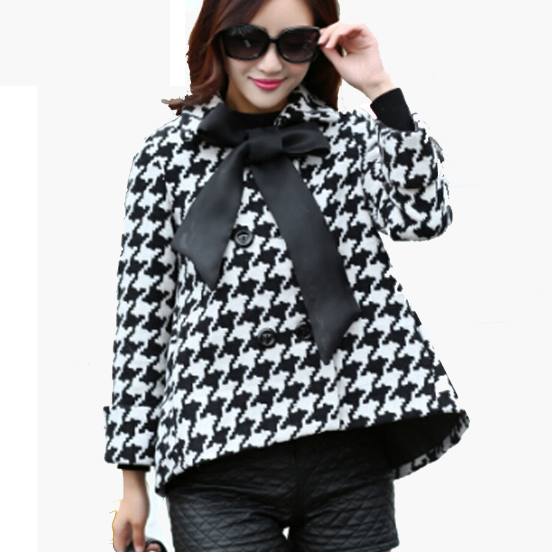 woolen overcoat cloak women single breasted overcoat winter woman black thickening lattice coat polo collar outer wear W082(China (Mainland))