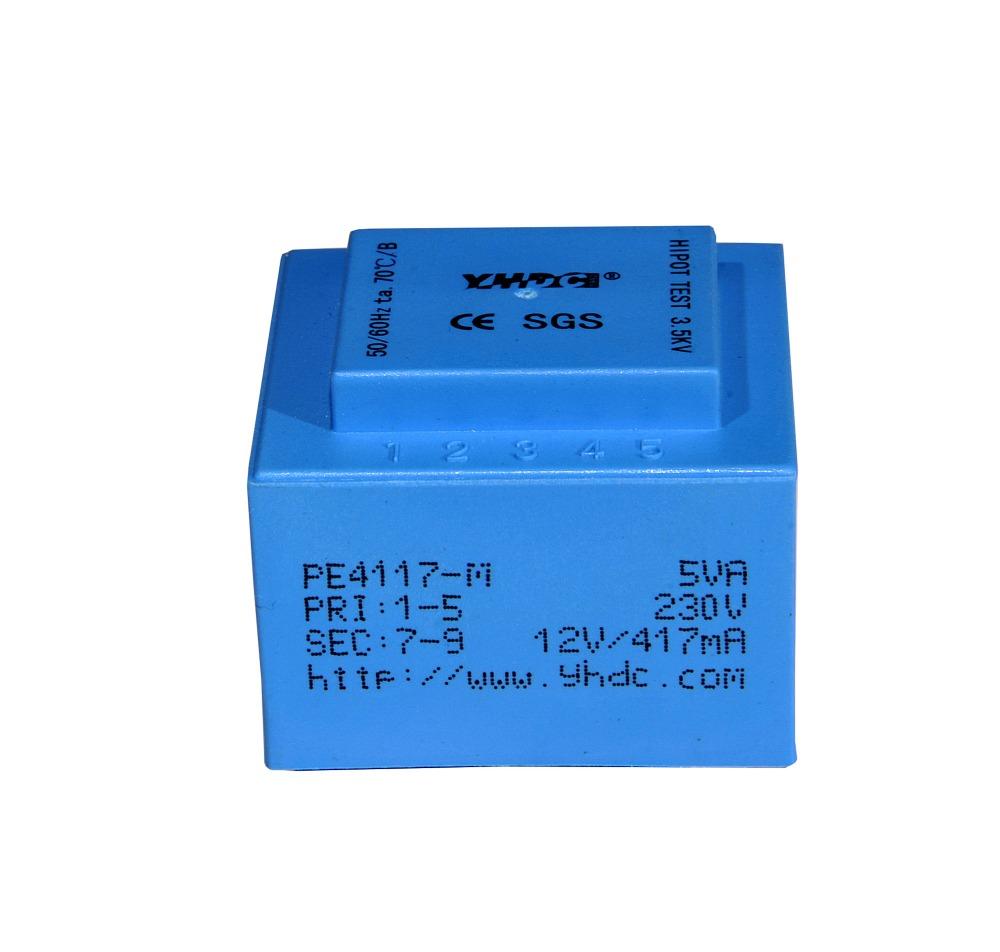 Free shipping PE4117-M Power 5VA 230V/12V 50-60Hz Vaccum Epoxy Encapsulated PCB Welding Transformer Certificate ROHS Blue(China (Mainland))