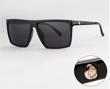 Brand New 2015 Steampunk Square Sunglasses Men SKULL Logo All Black Coating Sun Glasses Women Brand Designer Retro gafas de sol(China (Mainland))